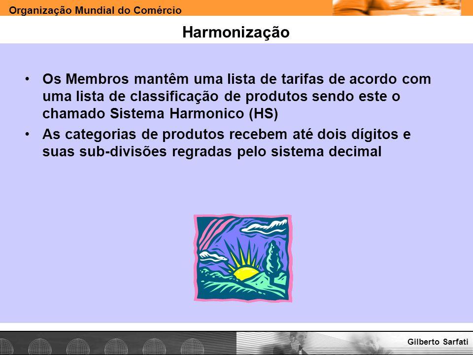 Harmonização Os Membros mantêm uma lista de tarifas de acordo com uma lista de classificação de produtos sendo este o chamado Sistema Harmonico (HS)