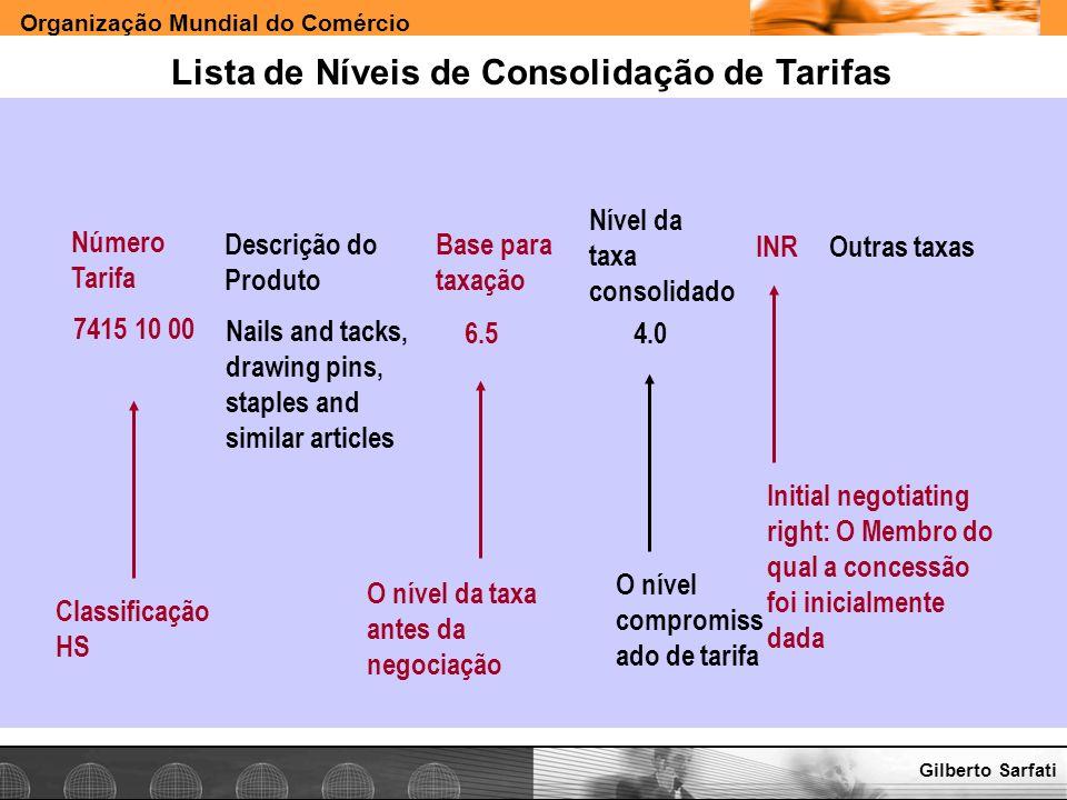 Lista de Níveis de Consolidação de Tarifas