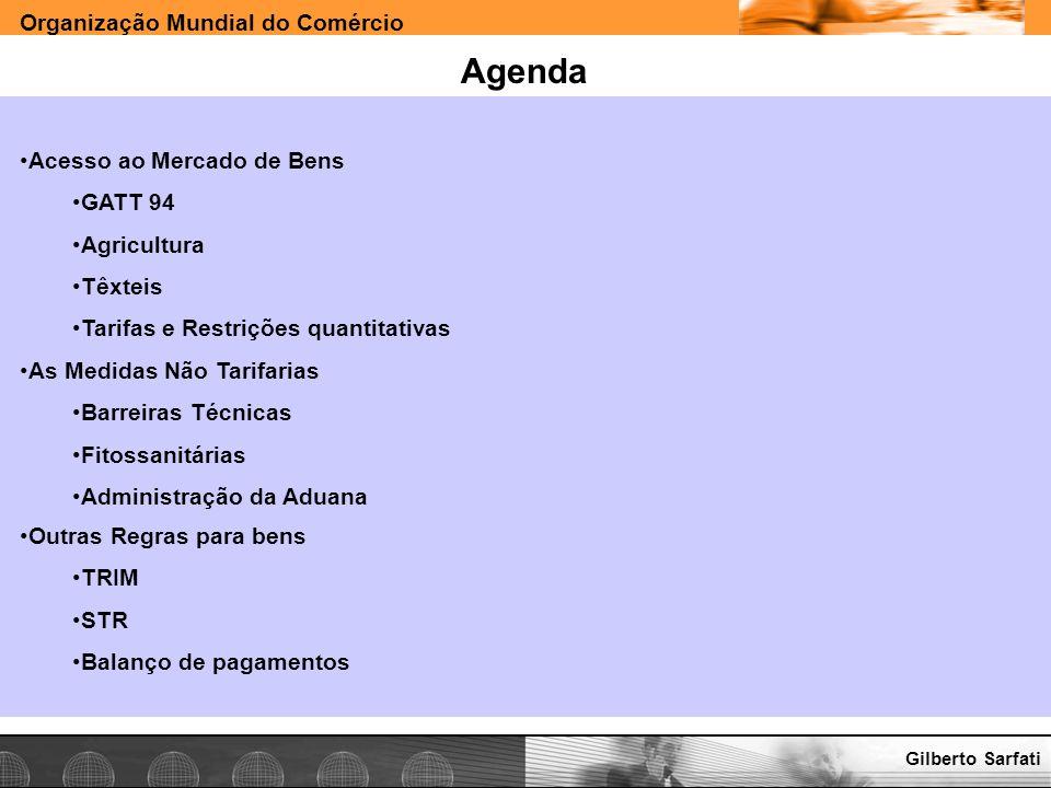 Agenda Acesso ao Mercado de Bens GATT 94 Agricultura Têxteis