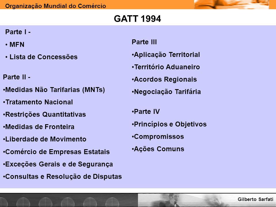 GATT 1994 Parte I - MFN Lista de Concessões Parte III
