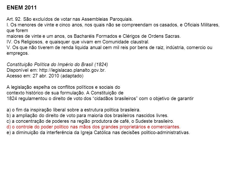 ENEM 2011 Art. 92. São excluídos de votar nas Assembleias Paroquiais.