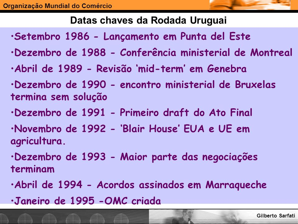 Datas chaves da Rodada Uruguai