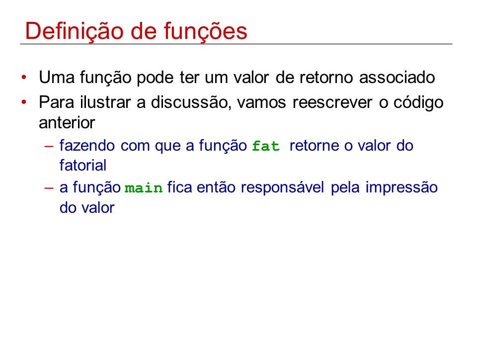 Definição de funções Uma função pode ter um valor de retorno associado