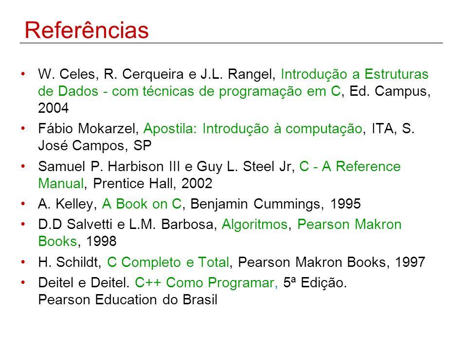 Referências W. Celes, R. Cerqueira e J.L. Rangel, Introdução a Estruturas de Dados - com técnicas de programação em C, Ed. Campus, 2004.