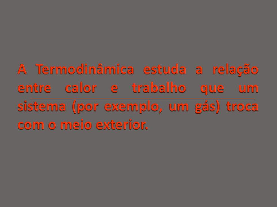 A Termodinâmica estuda a relação entre calor e trabalho que um sistema (por exemplo, um gás) troca com o meio exterior.