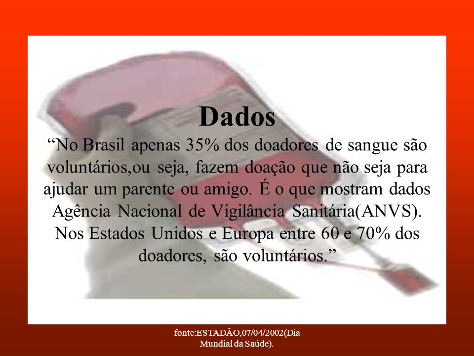fonte:ESTADÃO,07/04/2002(Dia Mundial da Saúde).