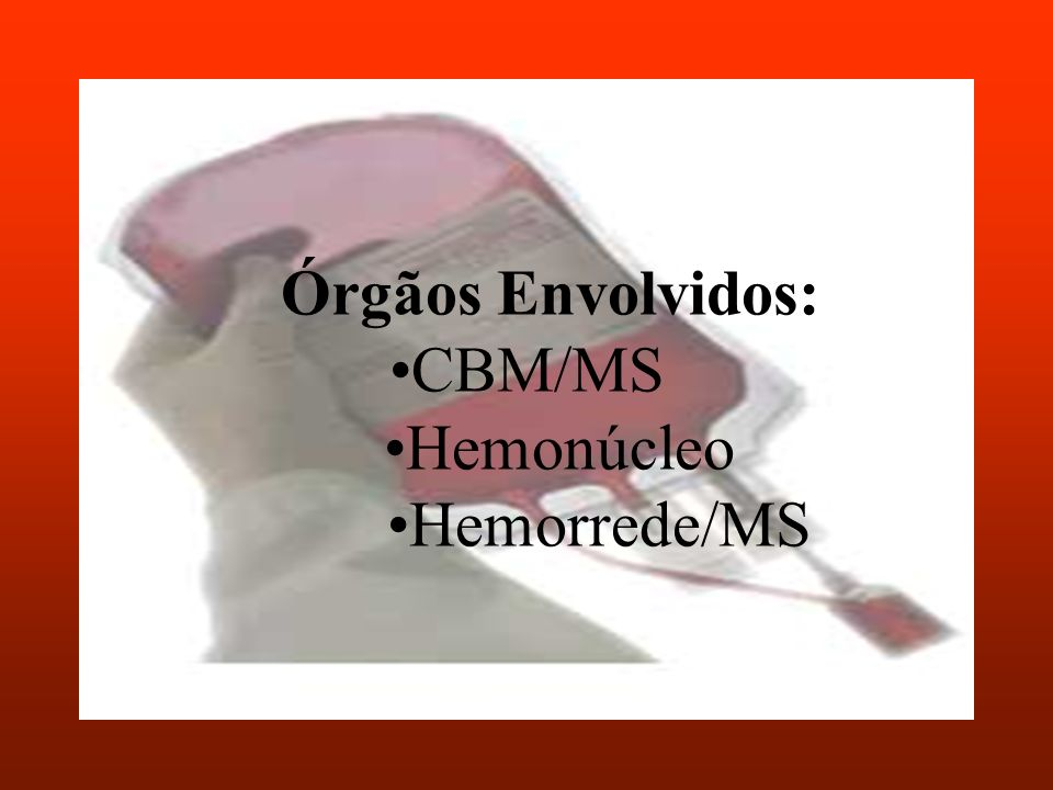 Órgãos Envolvidos: •CBM/MS •Hemonúcleo •Hemorrede/MS