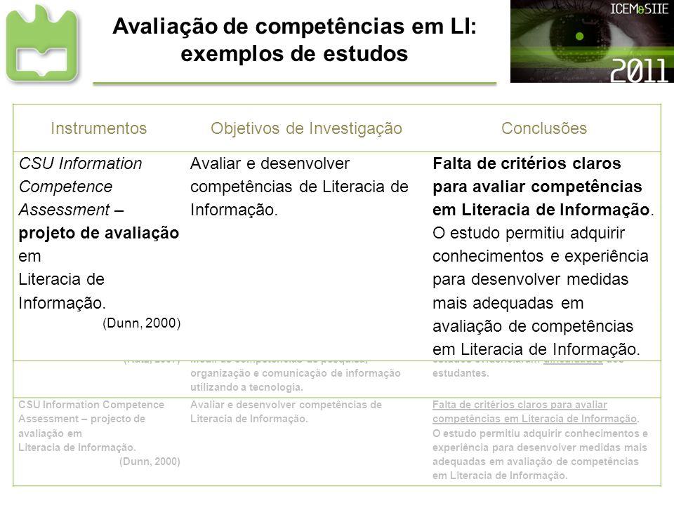 Avaliação de competências em LI: exemplos de estudos