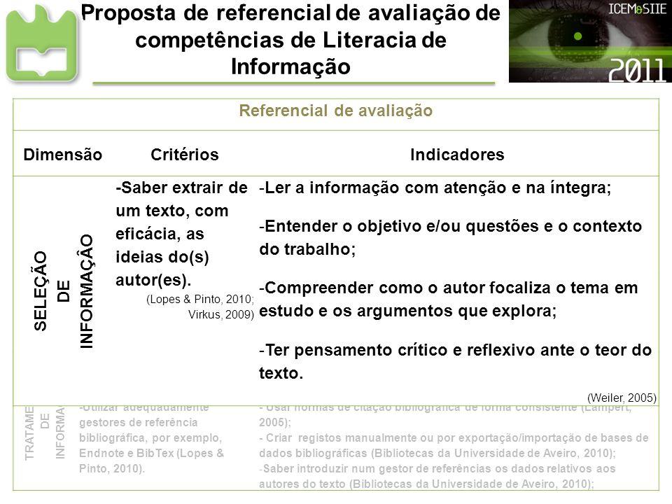 Referencial de avaliação Referencial de avaliação