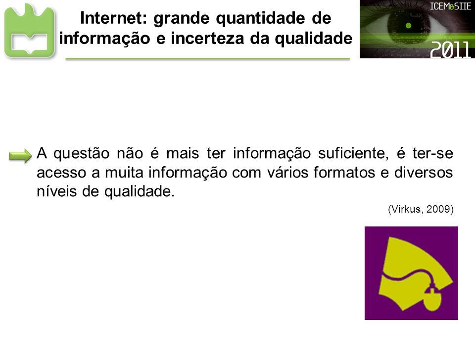Internet: grande quantidade de informação e incerteza da qualidade