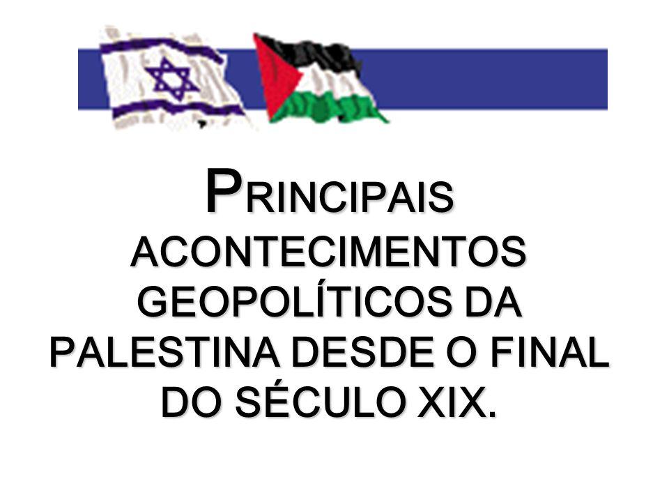 PRINCIPAIS ACONTECIMENTOS GEOPOLÍTICOS DA PALESTINA DESDE O FINAL DO SÉCULO XIX.