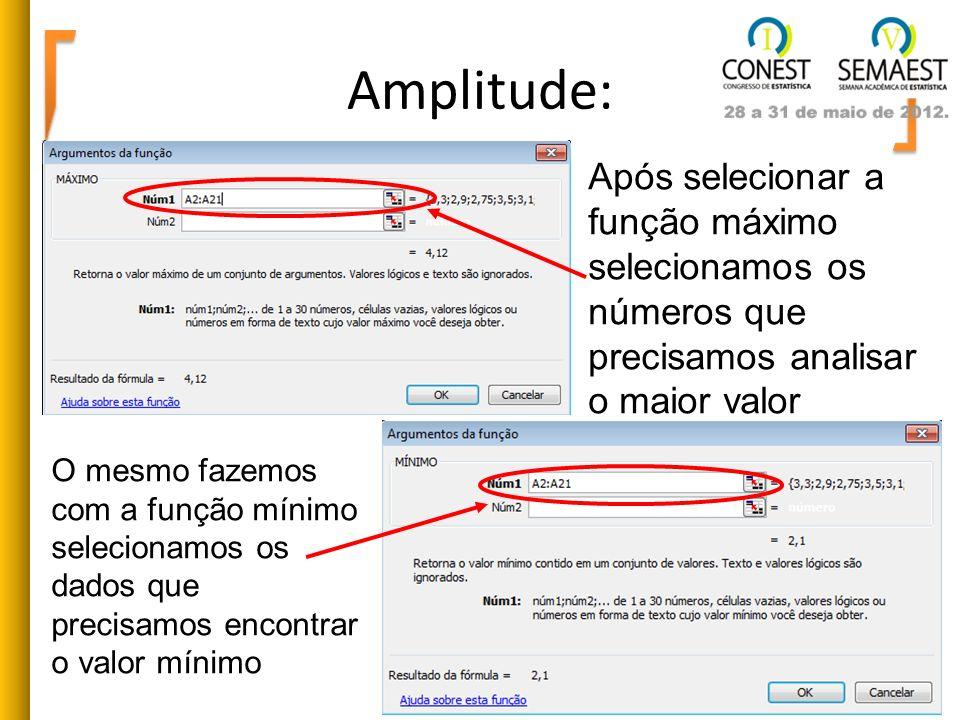 Amplitude:Após selecionar a função máximo selecionamos os números que precisamos analisar o maior valor.