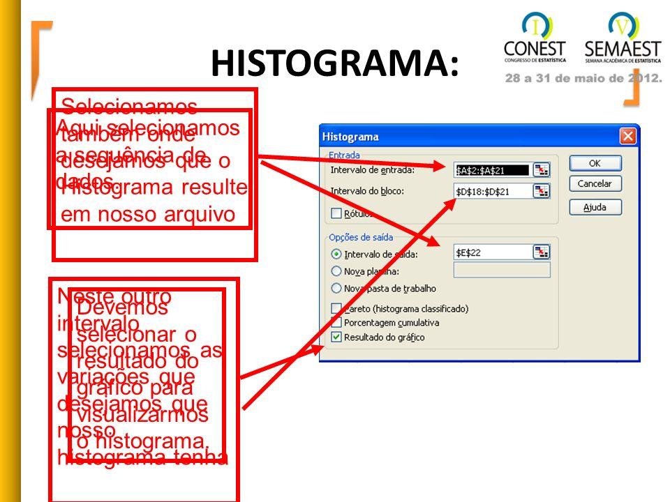 HISTOGRAMA:Selecionamos também onde desejamos que o Histograma resulte em nosso arquivo. Aqui selecionamos a sequência de dados.