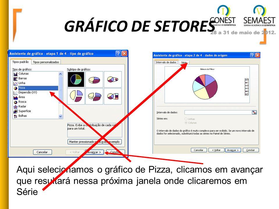 GRÁFICO DE SETORES Aqui selecionamos o gráfico de Pizza, clicamos em avançar que resultará nessa próxima janela onde clicaremos em Série.