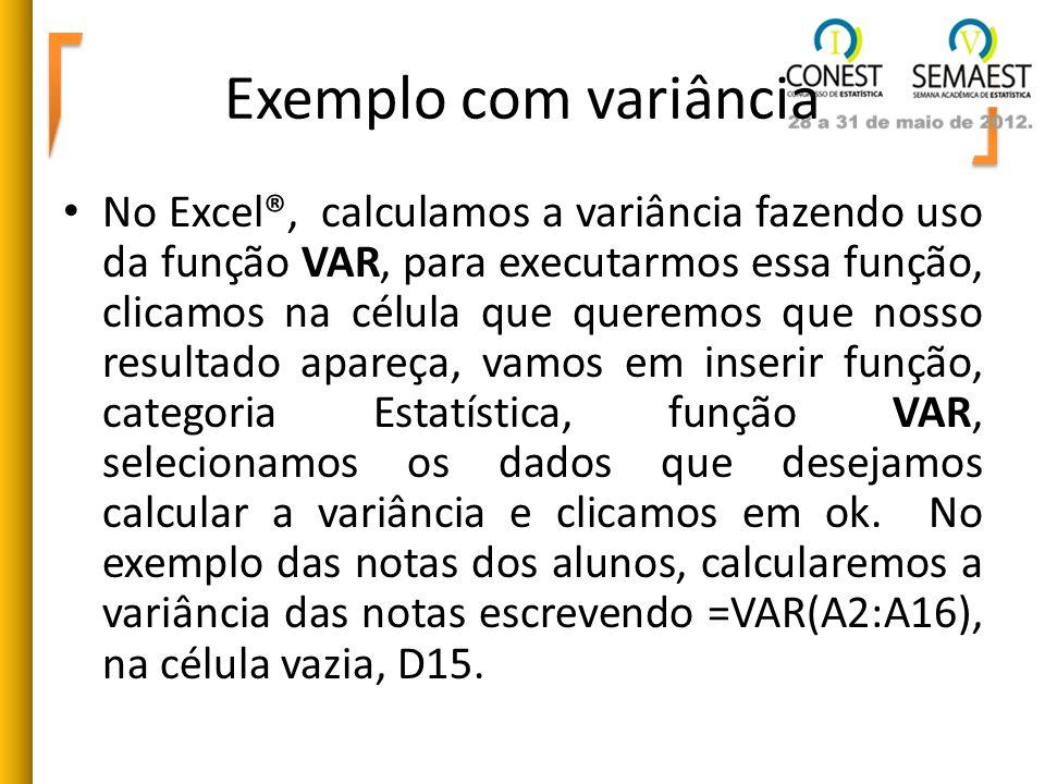 Exemplo com variância