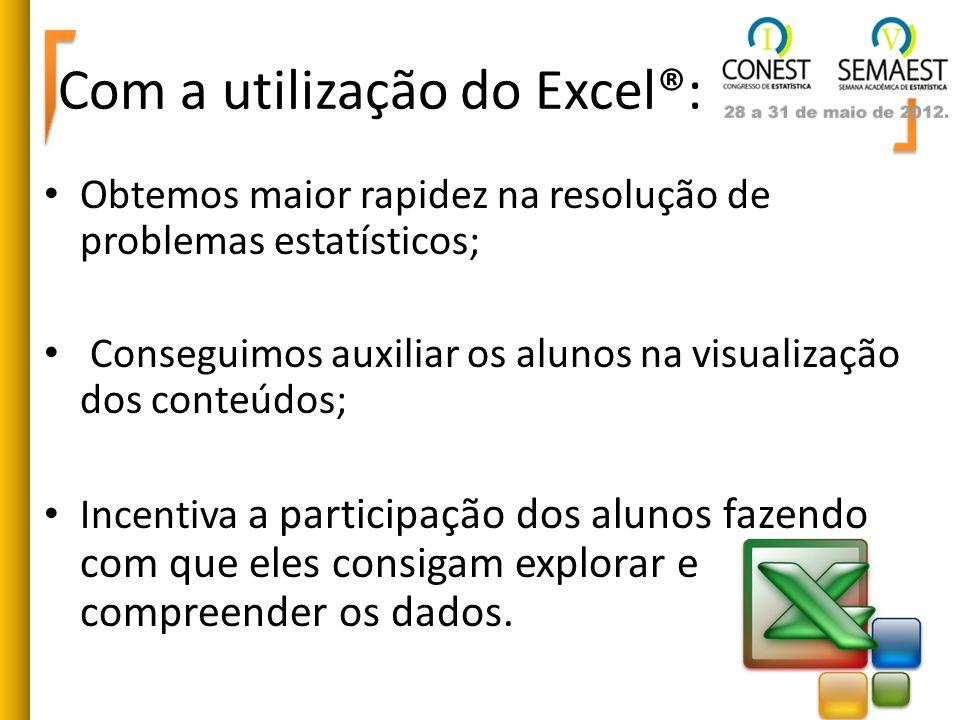 Com a utilização do Excel®: