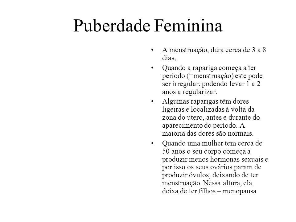 Puberdade Feminina A menstruação, dura cerca de 3 a 8 dias;