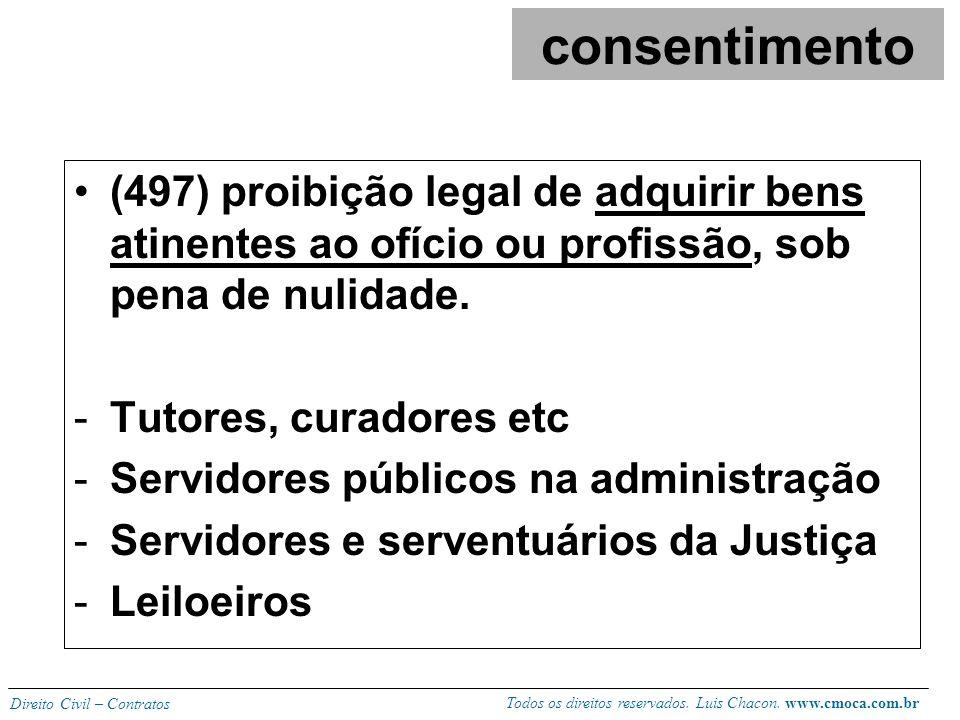 consentimento (497) proibição legal de adquirir bens atinentes ao ofício ou profissão, sob pena de nulidade.
