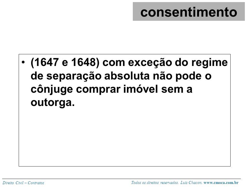 consentimento (1647 e 1648) com exceção do regime de separação absoluta não pode o cônjuge comprar imóvel sem a outorga.