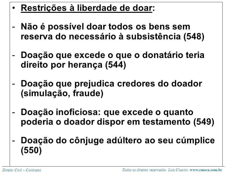Restrições à liberdade de doar: