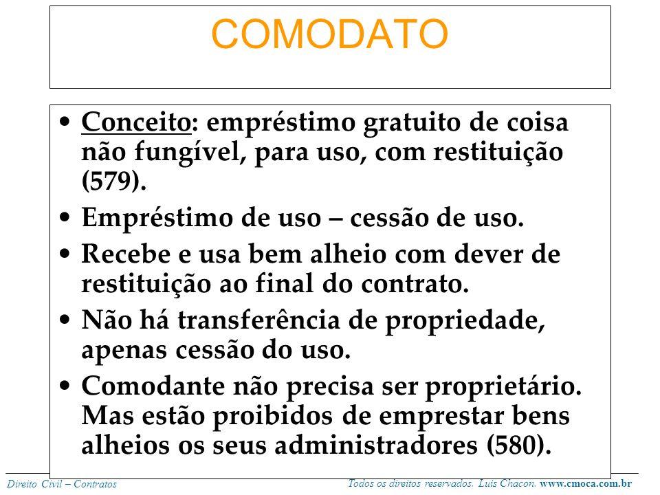 COMODATO Conceito: empréstimo gratuito de coisa não fungível, para uso, com restituição (579). Empréstimo de uso – cessão de uso.