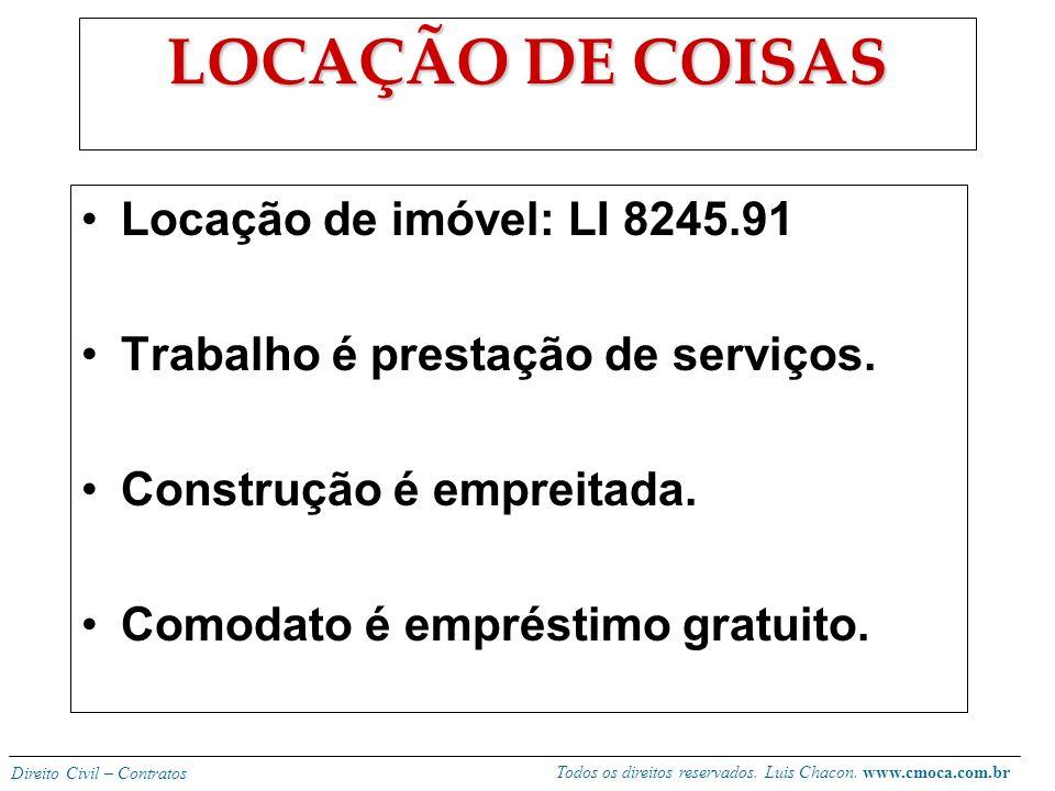 LOCAÇÃO DE COISAS Locação de imóvel: LI 8245.91