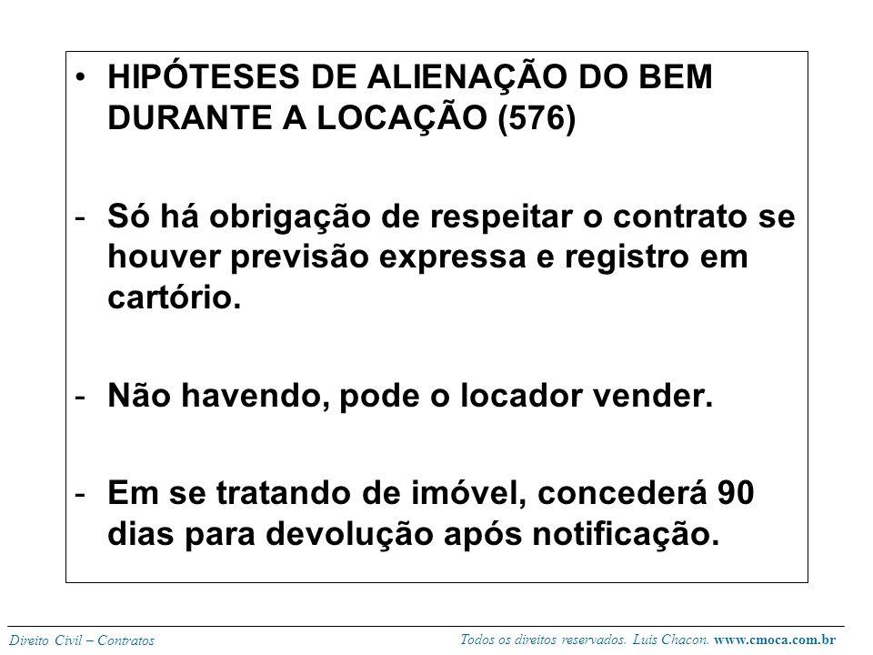 HIPÓTESES DE ALIENAÇÃO DO BEM DURANTE A LOCAÇÃO (576)