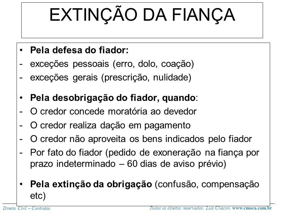 EXTINÇÃO DA FIANÇA Pela defesa do fiador: