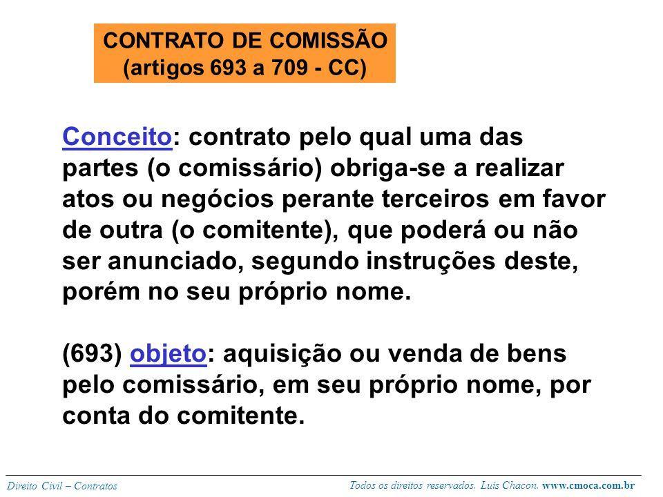 CONTRATO DE COMISSÃO (artigos 693 a 709 - CC)