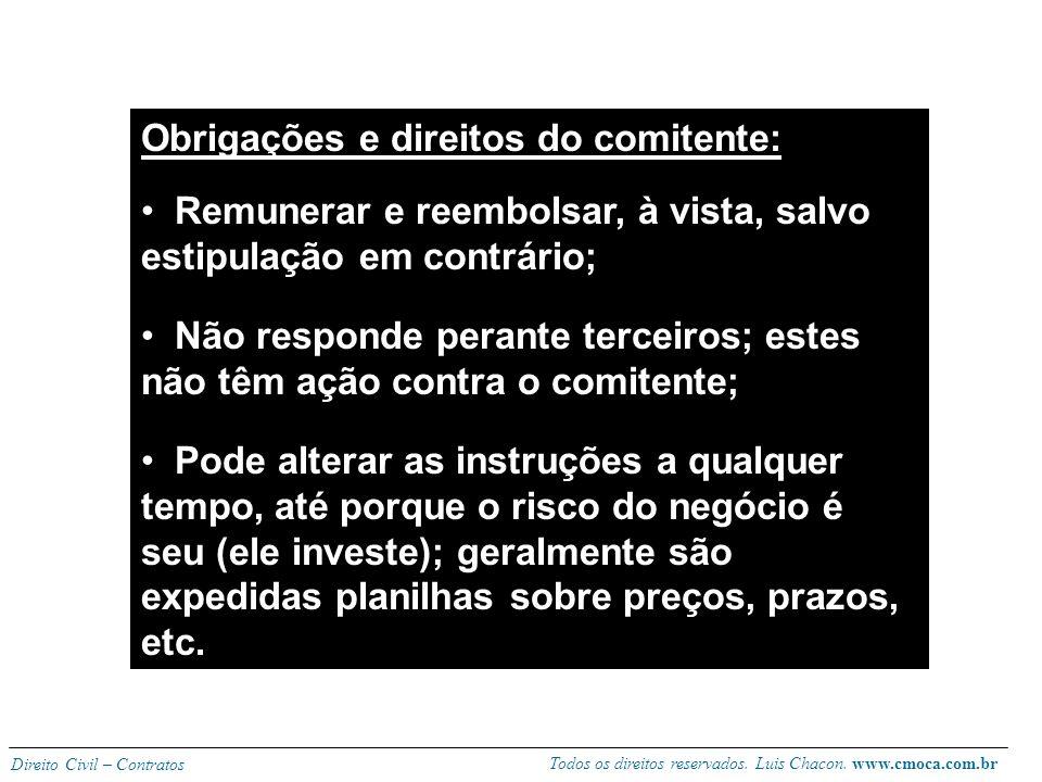 Obrigações e direitos do comitente: