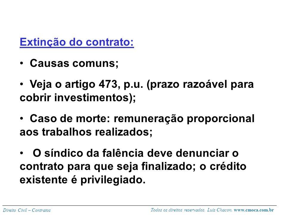 Extinção do contrato: Causas comuns; Veja o artigo 473, p.u. (prazo razoável para cobrir investimentos);