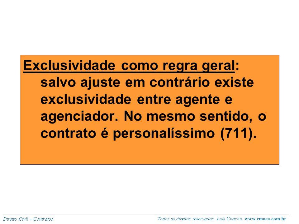 Exclusividade como regra geral: salvo ajuste em contrário existe exclusividade entre agente e agenciador.