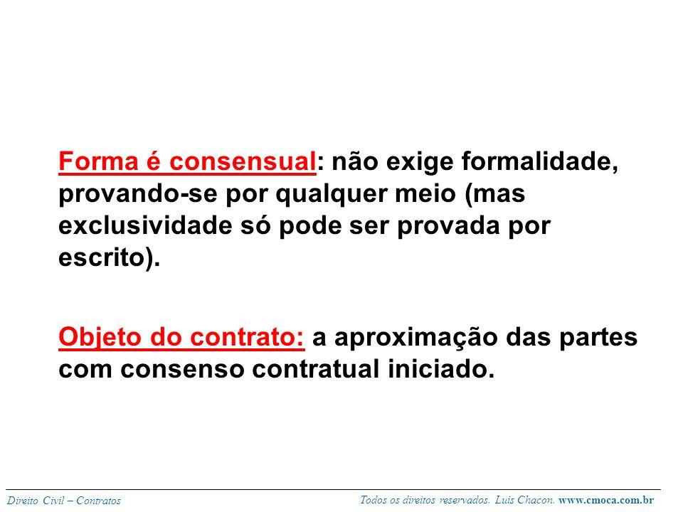Forma é consensual: não exige formalidade, provando-se por qualquer meio (mas exclusividade só pode ser provada por escrito).