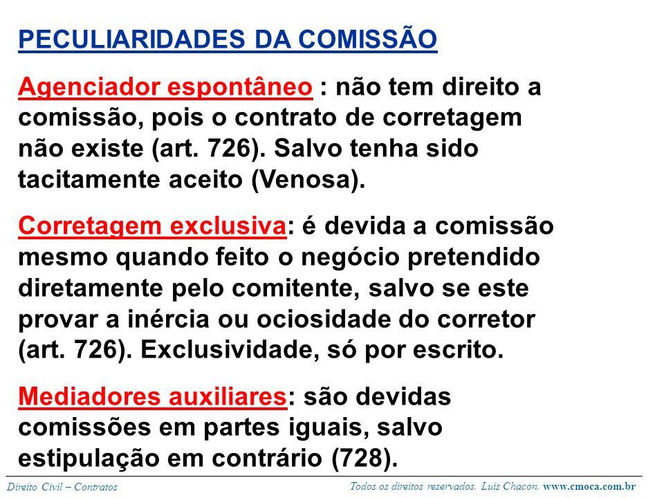 PECULIARIDADES DA COMISSÃO