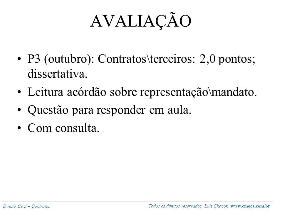 AVALIAÇÃO P3 (outubro): Contratos\terceiros: 2,0 pontos; dissertativa.