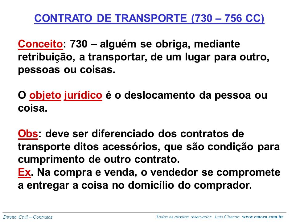 CONTRATO DE TRANSPORTE (730 – 756 CC)