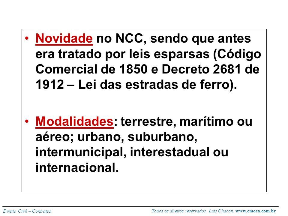 Novidade no NCC, sendo que antes era tratado por leis esparsas (Código Comercial de 1850 e Decreto 2681 de 1912 – Lei das estradas de ferro).