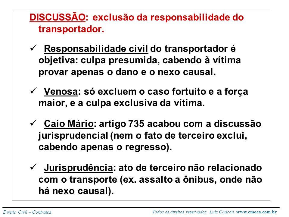 DISCUSSÃO: exclusão da responsabilidade do transportador.