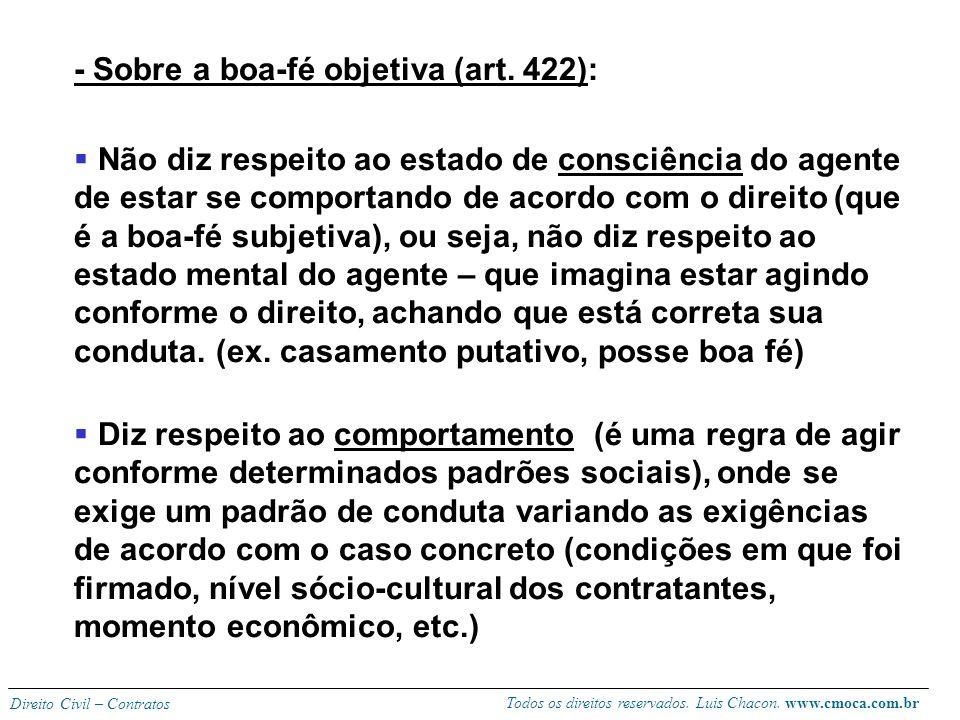 - Sobre a boa-fé objetiva (art. 422):