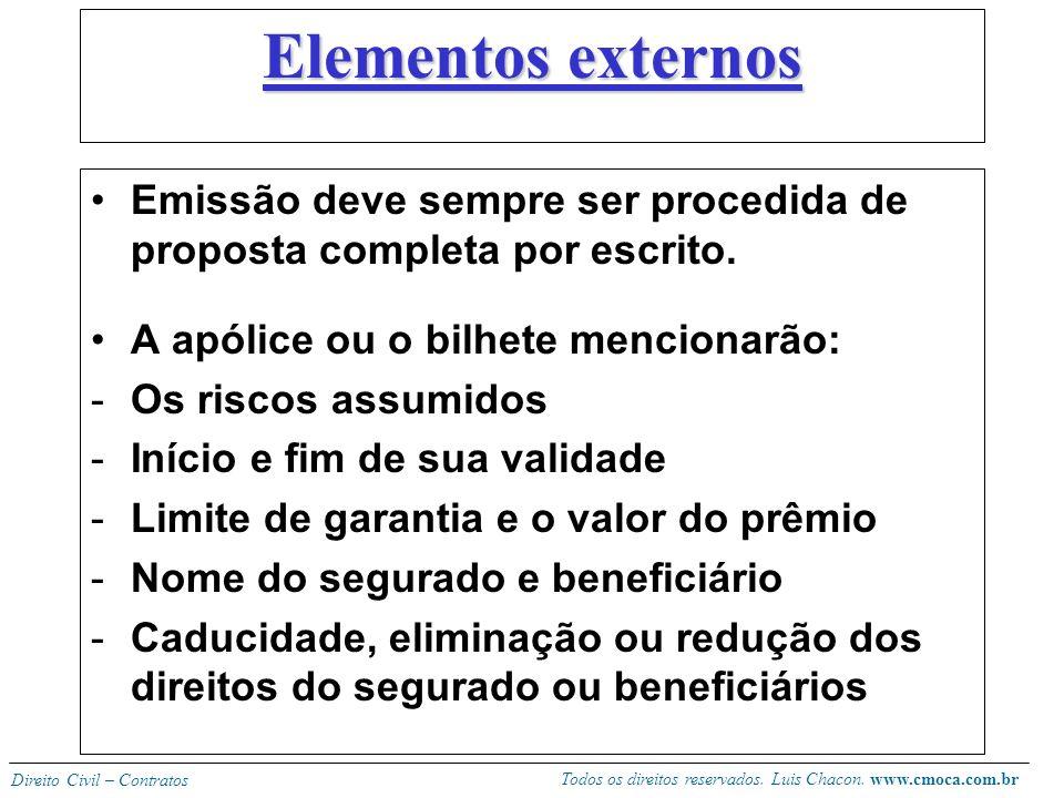 Elementos externos Emissão deve sempre ser procedida de proposta completa por escrito. A apólice ou o bilhete mencionarão: