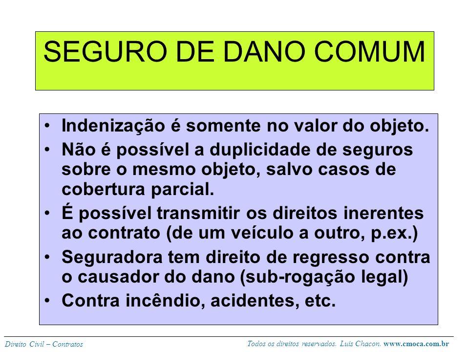 SEGURO DE DANO COMUM Indenização é somente no valor do objeto.