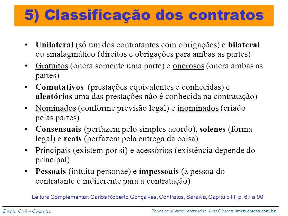 5) Classificação dos contratos
