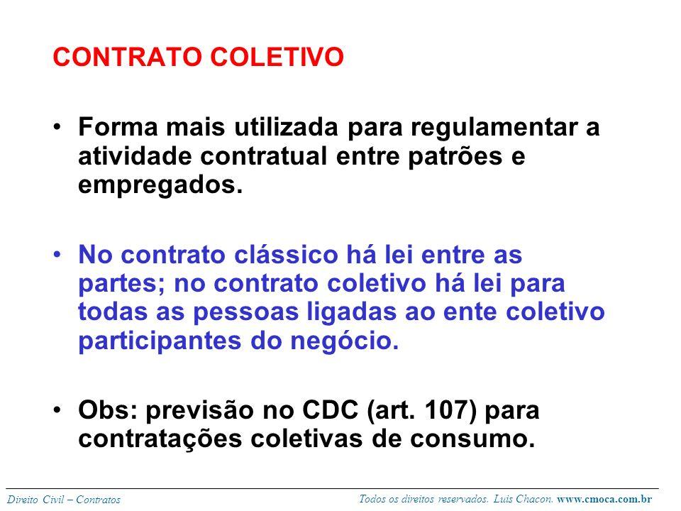 CONTRATO COLETIVO Forma mais utilizada para regulamentar a atividade contratual entre patrões e empregados.