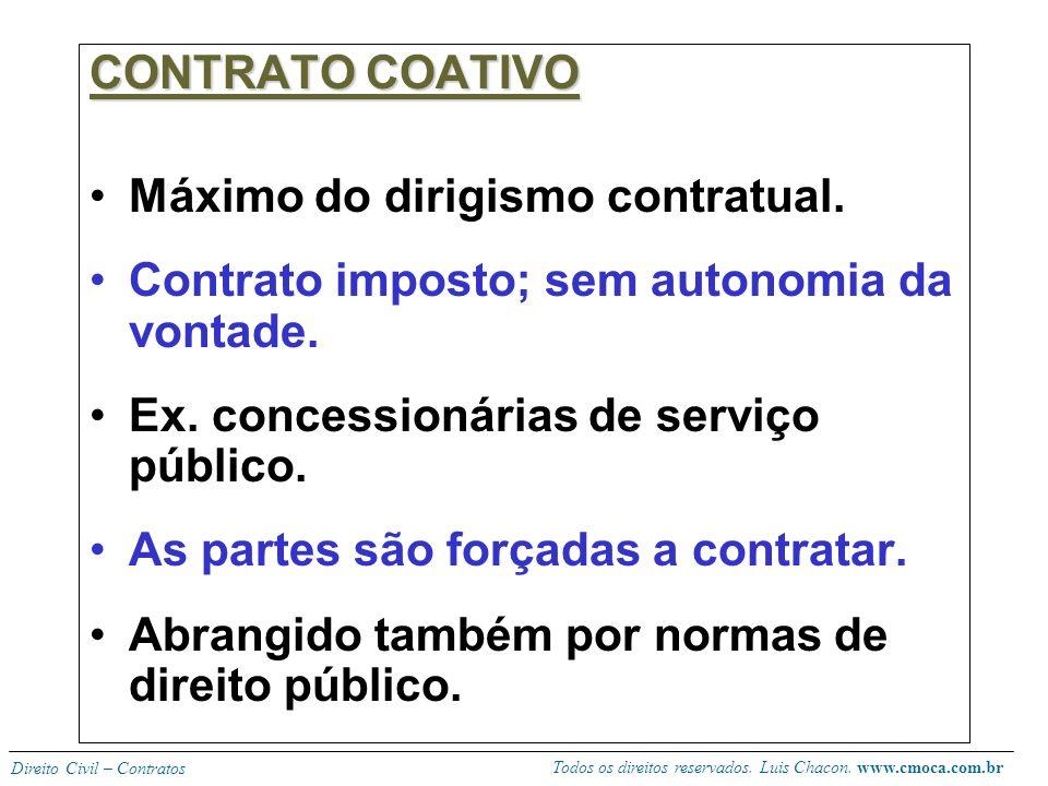CONTRATO COATIVO Máximo do dirigismo contratual. Contrato imposto; sem autonomia da vontade. Ex. concessionárias de serviço público.