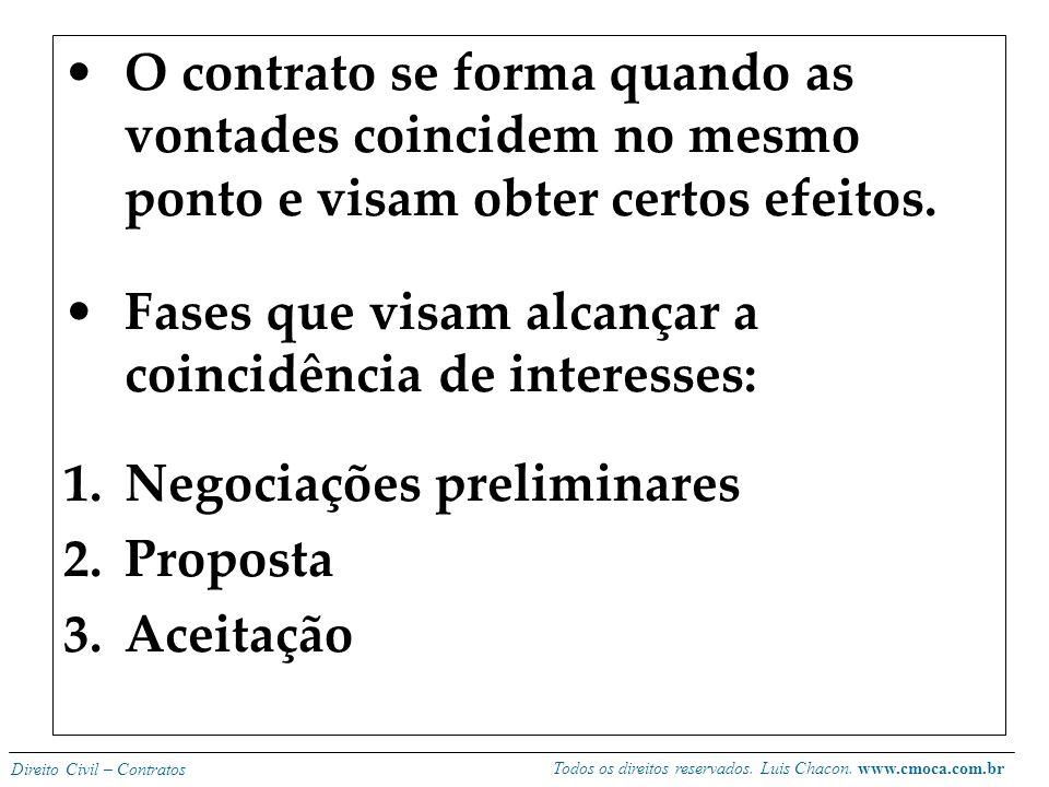 O contrato se forma quando as vontades coincidem no mesmo ponto e visam obter certos efeitos.