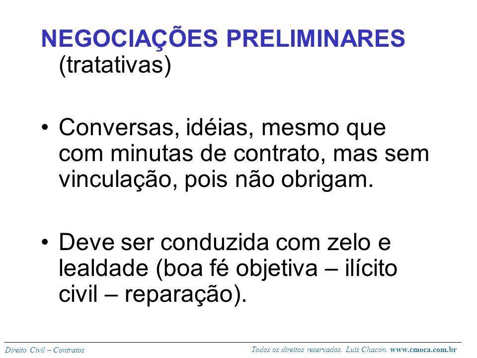 NEGOCIAÇÕES PRELIMINARES (tratativas)