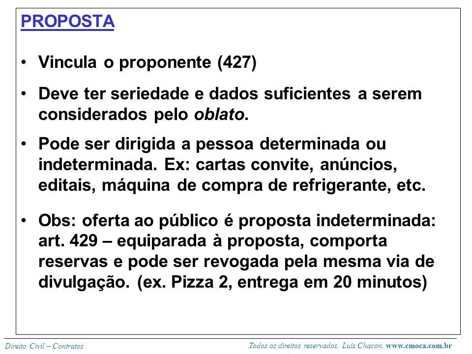 PROPOSTA Vincula o proponente (427) Deve ter seriedade e dados suficientes a serem considerados pelo oblato.