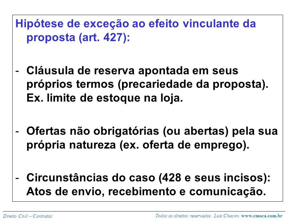 Hipótese de exceção ao efeito vinculante da proposta (art. 427):