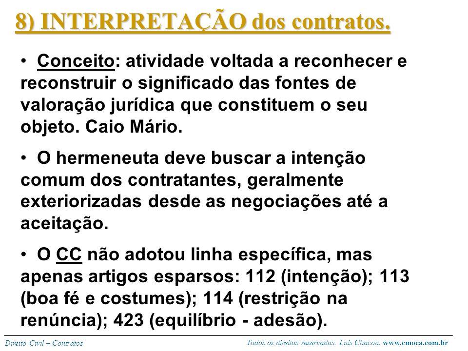 8) INTERPRETAÇÃO dos contratos.
