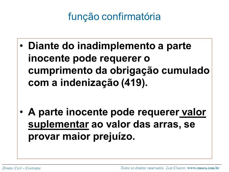 função confirmatória Diante do inadimplemento a parte inocente pode requerer o cumprimento da obrigação cumulado com a indenização (419).